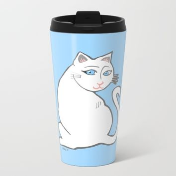 White Cat with Blue Eyes Metal Travel Mug by Artist Abigail