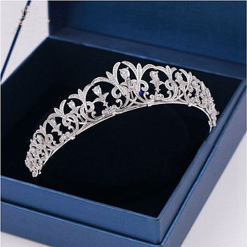 Sparkling Zircon Bridal Tiaras Crowns Leaves Headbands Crystal Wedding Cosplay Hair Accessories