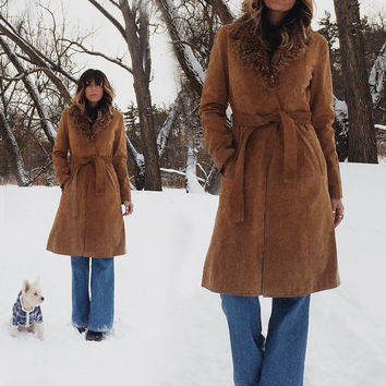 Vintage 1970's PENNY LANE Suede And Faux Fur Mantle Collared Princess Coat Jacket    Camel Brown Long Fitted Wrap Coat    Size Small Medium