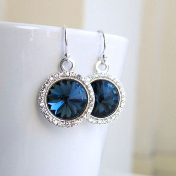 Montana Navy Blue Earrings Swarovski Crystal Rivoli Sterling Silver CZ Halo Bridesmaid Jewelry Wedding Jewelry Bridal