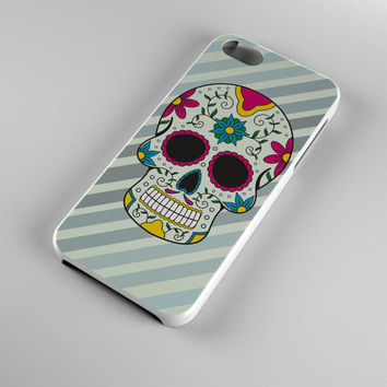DS268-iPhone Case - Iphone 5 case-Iphone 5s case - Iphone 4 case - Iphone 4s case - Iphone Cover -Sugar Skull Stripes Blue iPhone Case