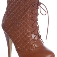 Forever Luxury League Pixie-12 Lace Up Construction Quilted Stiletto Ankle Booties - Tan