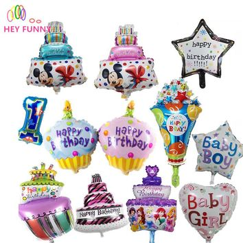 Foil Balloons Happy Birthday party Decorations kids air Balls inflatable Balloons lovely Birthday Cake Party balloons