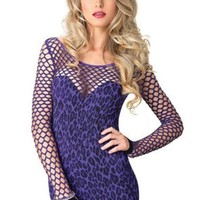 ONETOW Seamless leopard mini dress with diamond net bodice and sleeves in PURPLE
