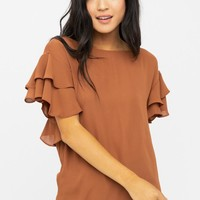 Fly Away Home Flutter Sleeve Top in Cognac