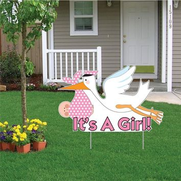 It's a Girl Die Cut Stork, Baby Announcement Yard Sign