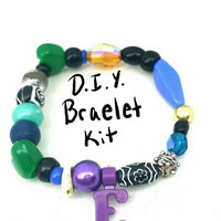 Bracelet Kit for Girls, Beaded Stretch Bracelet DIY, Craft Kit, Initial Bracelet, Stocking Stuffer