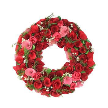 """12.5"""" Red and Pink Flowers with White Berries Artificial Floral Wreath"""