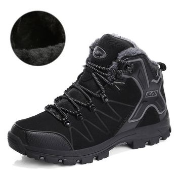 SUROM Waterproof Plush Warm Hiking Shoes Wear-resistant Non-slip Outdoor Sports Shoes Walking Boot Winter Sneakers Women Shoes