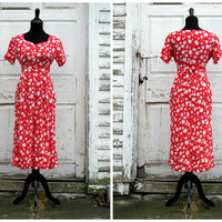 Beautiful Valentine's Day Dress / Lovely 90s 80s Does 50s 30s Dress/ White Daisy Floral Print Red Dress/ Hippie Boho Dress