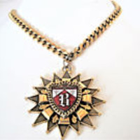 Heraldic Shield Necklace,  Signed Brookraft, Gold Tone Metal , B Shield - 60's Pendant
