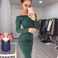 Sleeve Long Off Shoulder Dress Women Autumn Winter Female Sexy Bodycon Party Dresses Robe Solid Pencil Dress designer clothes