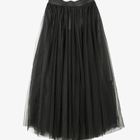 Black Tulle Layered Midi Skirt