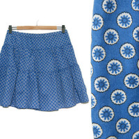 Vintage Floral Skirt~Size Large~Waist 30-38~90s Blue White Flower Dot Pleated Elastic Waist Skirt