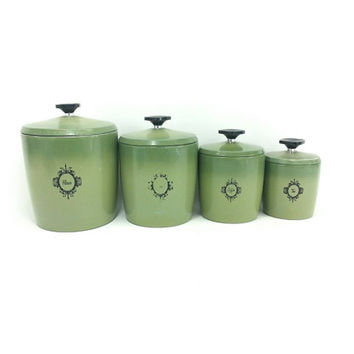 Beau Avocado Green Canister Set West Bend, Metal,Vintage Retro Kitchen Storage,  Coffee,