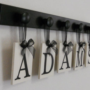 Anniversary Gift for Him Family Name Plaque Custom for ADAMS includes 5 Wooden Peg Rack Black and White