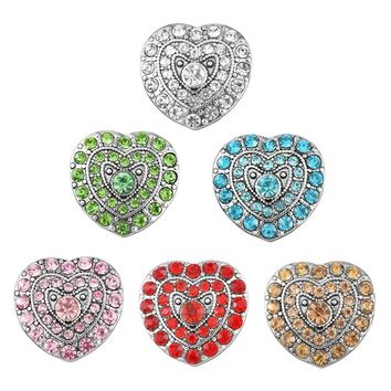 3PCs Heart-shaped Glass Snap Buttons
