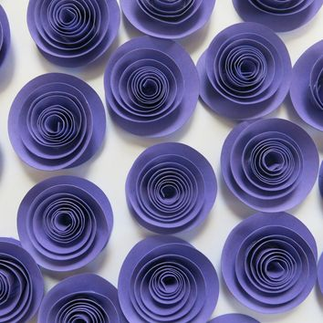"Grape Purple paper flowers, set of 24, loose 1.5"" roses, dark purple, wedding decor, bridal shower supply, birthday party decorations"