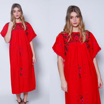 Vintage 70s MEXICAN Dress Red EMBROIDERED Tent Dress FLORAL Hippie Dress Cotton Boho Dress