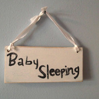 Baby Sleeping Sign, Rustic Baby Sleeping Sign, Nursery Sign, Distressed Baby Sleeping Sign, Distressed Nursery Decor
