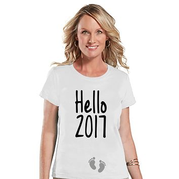 New Years Pregnancy Shirt - Hello 2017 Shirt - New Years Tee - Womens White T Shirt - White Tee - New Baby Reveal - Pregnancy Announcement