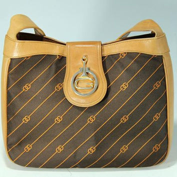 Vintage Gucci rare GG darkbrown diagonal jacquard and leather bag with tanned brown leather trimming. Daily use Gucci purse for unisex use.