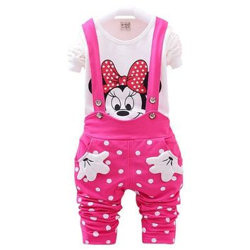 Minnie Mouse Full Sleeve Shirt & Suspender Pants Set for Girls