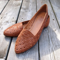 Brown Leather Woven Flats - Sz 10