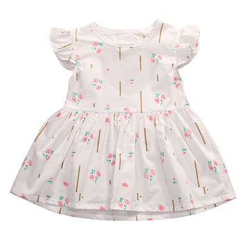 Toddler Infantil Kids Baby Girl Party Floral Cute Princess Flower Pattern Print Tutu Mini Dress 0-24M