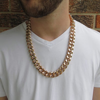 28 Inch Shiny Chunky Rose Gold Curb Chain Men's Necklace - Heavy Urban Edgy Hip Hipster Long Super Thick and Chunky Large Link Chain Jewelry
