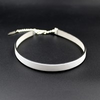 10mm White Leather Choker