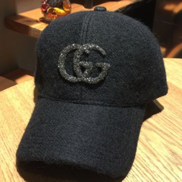 GUCCI men and women thickened wild couple hip-hop hat diamond lettering wool baseball hat