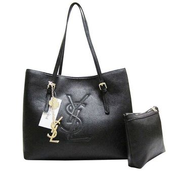 YSL Women Shopping Leather Chain Satchel Shoulder Bag Satchel Crossbody Black G-MYJSY-BB