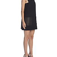 Fendi - Embellished Leather-Trim Shift Dress - Saks Fifth Avenue Mobile