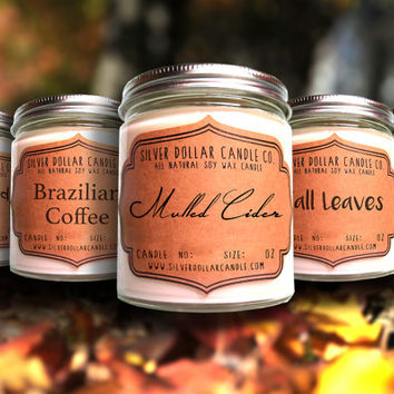Fall Scented Candle Collection | FIVE 8oz scented candles, Fall scents, Thanksgiving gift, Christmas gift idea, Xmas Candle, Christmas scent