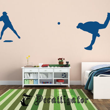 Wall Decal - Baseball - Pitcher & Batter Vinyl Wall Art - Perfect for Kids' Rooms [012]