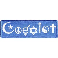 "Embroidered Iron On Patch - Religious Symbol Coexist 4"" x 1.25"" Patch"