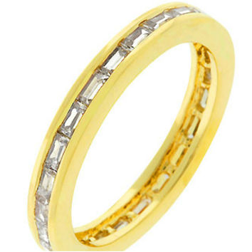 Chela Baguette Eternity Stackable Gold Ring | 2ct | Cubic Zirconia | 18k Gold