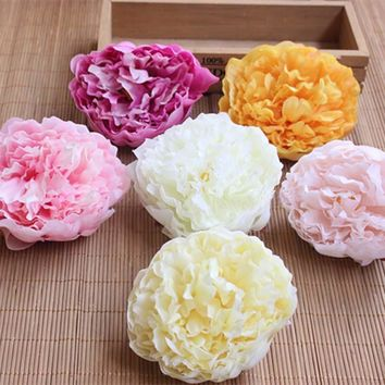 9.5CM Head,12PCS Artificial Silk Peonies Heads,Real Touch Peony Rose For Wedding Bouquet,Home Decoration,Wrist Corsage,Garland