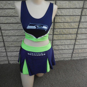 crop top SEATTLE SEAHAWKS nfl neon FOOTBALL  halloween costume cheerleading skirt set stripper exotic dancer pom pons