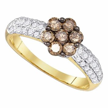 10kt Yellow Gold Women's Round Cognac-brown Color Enhanced Diamond Flower Cluster Ring 7-8 Cttw - FREE Shipping (US/CAN)