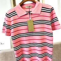 Burberry 2019 new classic striped contrast color lapel POLO shirt short-sleeved T-shirt