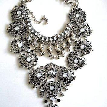 Massive Silver Bib Necklace, Etruscan Revival Filigree & Dangles, Boho, Vintage