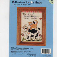 Milk Human Kindness Never Curdles, Reflections For Heart, Candamar Designs Counted Cross Stitch Embroidery Kit