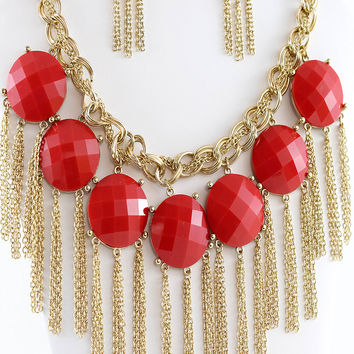 Red Fringe Collar Necklace & Earrings Set