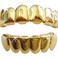 Gold Hip Hop Removeable Mouth Grillz Set (Top & Bottom) Player Style