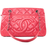 Coral Leather Quilted Purse
