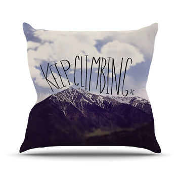 "Leah Flores ""Keep Climbing"" Mountain Quote Throw Pillow"