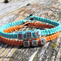 Bae Bracelets for Couples or Best Friends, Before Anyone Else, Teal and Orange Hemp Jewelry