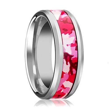 Tungsten Camo Ring - Pink and White Camouflage - Tungsten Wedding Band - Beveled - Polished Finish - 6mm - 8mm - Tungsten Wedding Ring